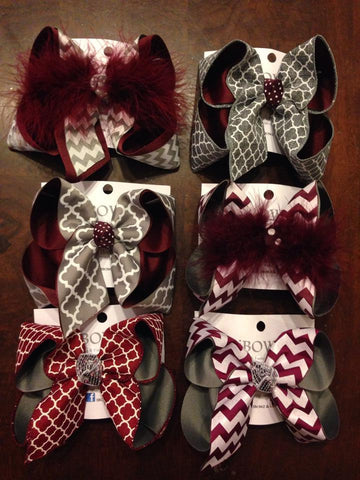 MAROON AND GRAY BOWS ~ CENTRAL SCHOOLS & MISSISSIPPI STATE