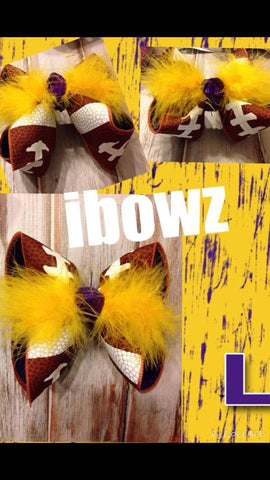 FOOTBALL BOW~CHOOSE YOUR TEAM COLORS!!!