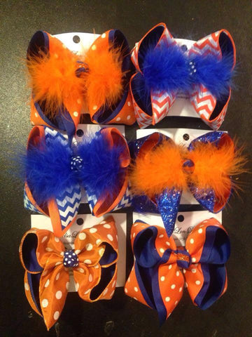 ORANGE AND ROYAL BLUE BOWS~ Newton County & Walker school