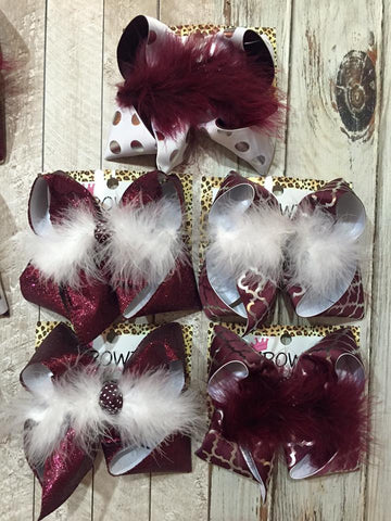 MAROON & GRAY ~ MISSISSIPPI STATE ~ SCHOOL TEAM HAIRBOWS