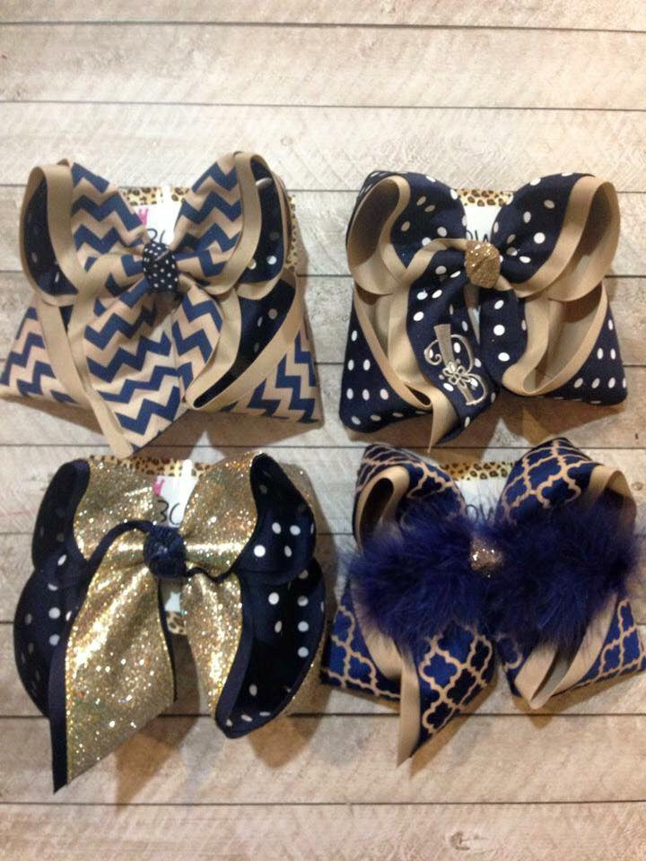 NAVY AND KAKIE SCHOOL HAIRBOW SET