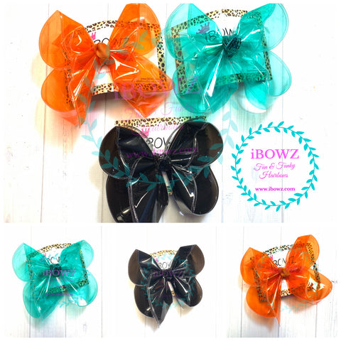 JELLY Bundle in Aqua blue, Black & Orange!!!  Jellies  Fun iBOWZ~ Translucent & Waterproof  Hairbows ~ iBOWZ Fun & Funky Hairbows