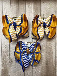 ROYAL BLUE & YELLOW GOLD SCHOOL BOWS