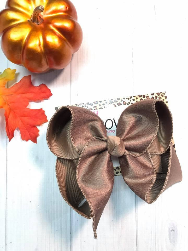 Taupe Dressy Fall iBOWZ | Hairbow | Baby bow | Big Mega Bow