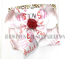 Valentines day Personalized Name Hairbow ~ Pink & Red Colors Perfect for Valentines Day ~iBOWZ