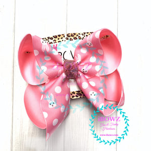 Surprise Drop ~ Pink Bunny polka dot Fun bow ~ iBOWZ Fun & Funky Hairbows