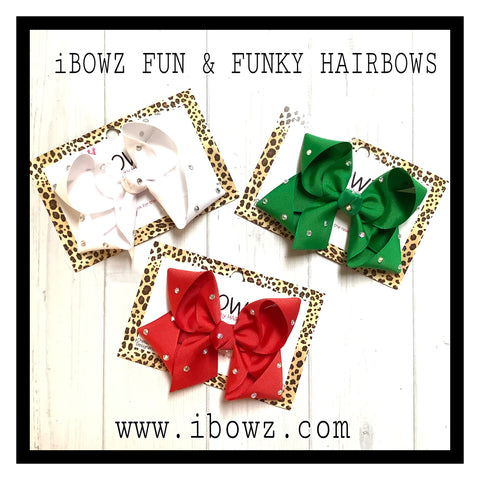 Christmas Rhinestone Hairbow Bundle Only | Red, Emerald Green & White Crystal Sparkly bows | iBOWZ Fun & Funky Hairbows