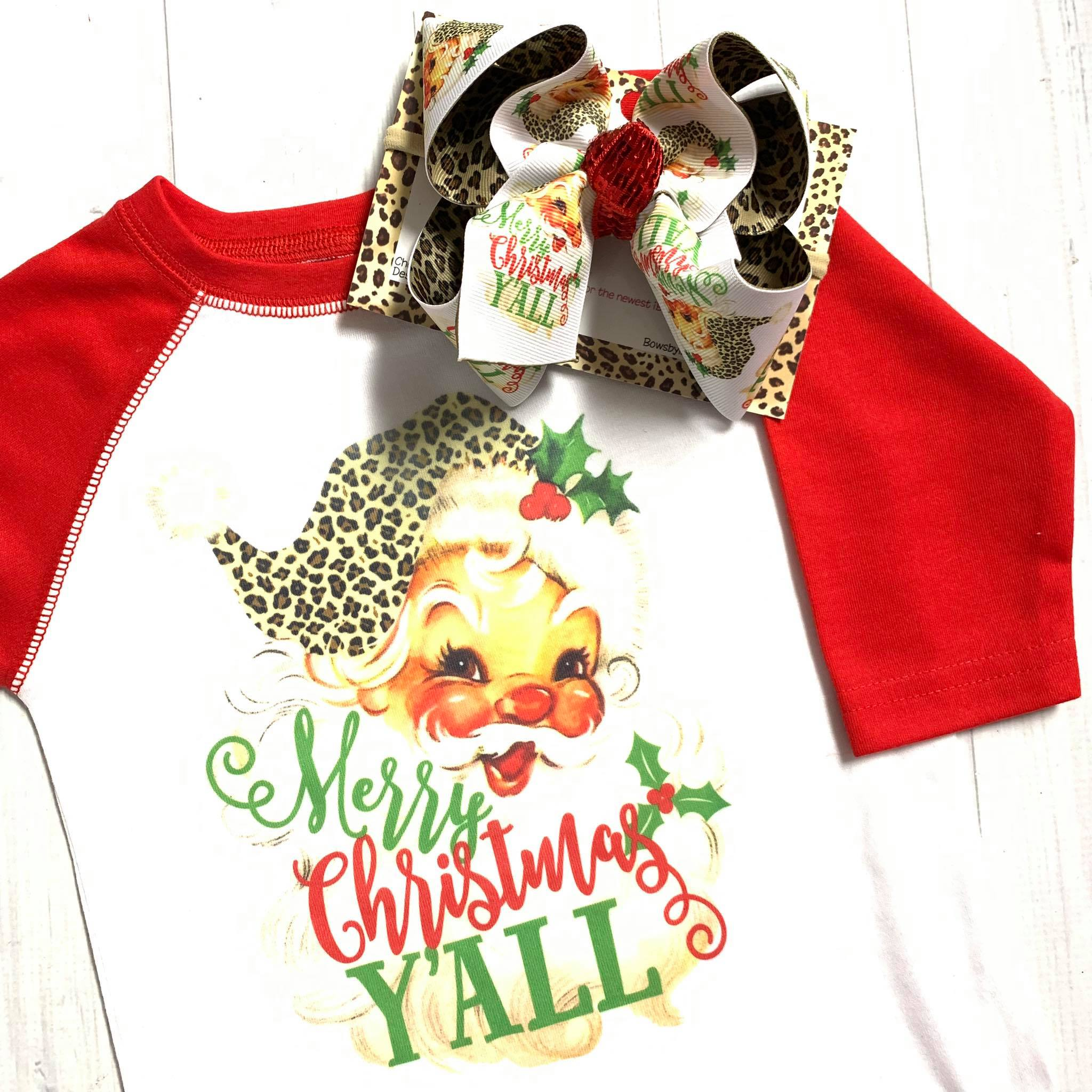 Vintage Santa Clause  Combo ~ Bow + Tee ~ One of a Kind Fun iBOWZ ~  Limited Time Only