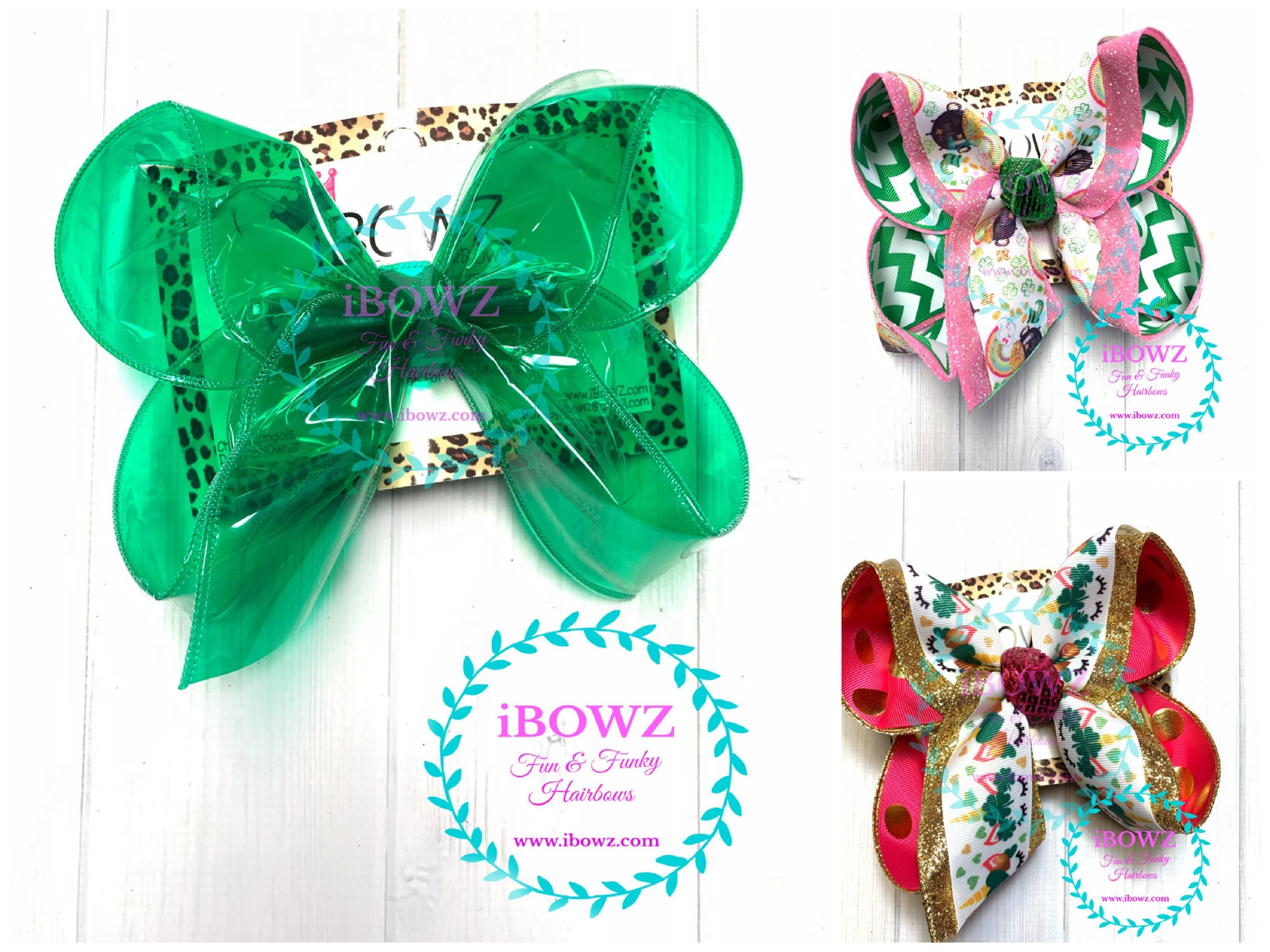 Bundle ~ Emerald Jelly + Pot of Gold + Unicorn  St. Patties Day Fun iBOWZ hairbows
