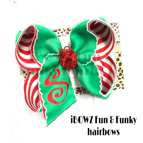 Christmas Monogram Initial Fun bow  | Emerald Green & white stripe  FUN BOW