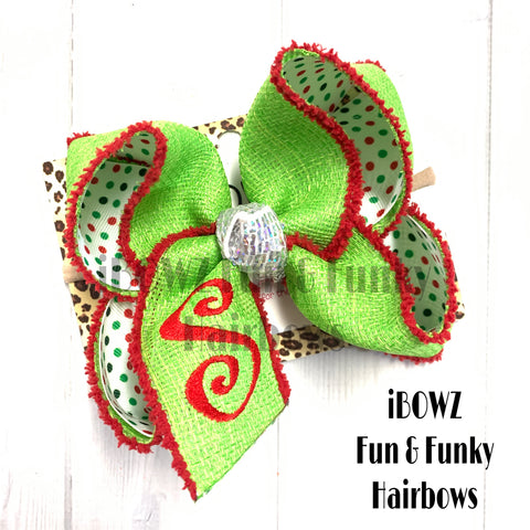 Holiday Dots Monogram Fun bow | Lime Green + Red + Holiday Dots FUN BOW~ PREORDER OPEN TODAY ONLY