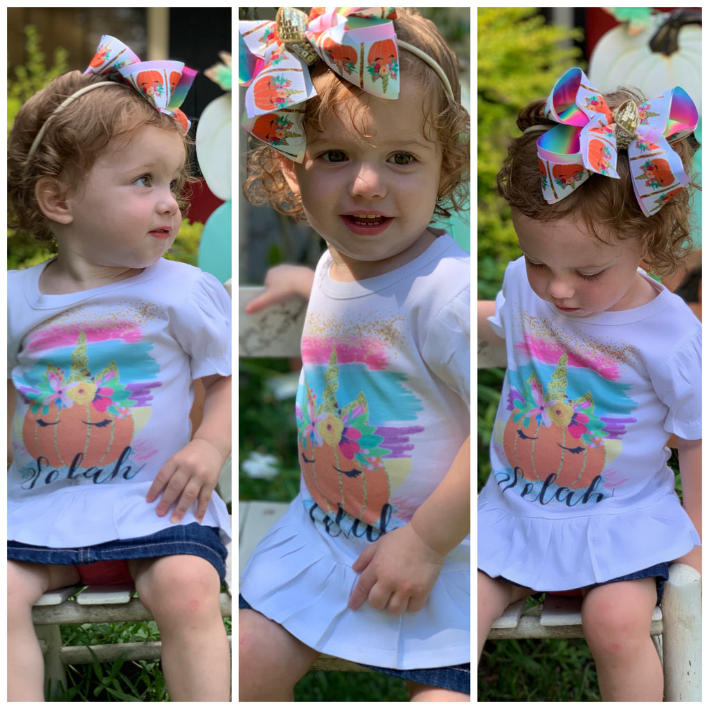 Pumpkin Patch Unicorn Fall Fun bow & Shirt Combo!  Perfect All your Fall Functions + Great for Photoshoots