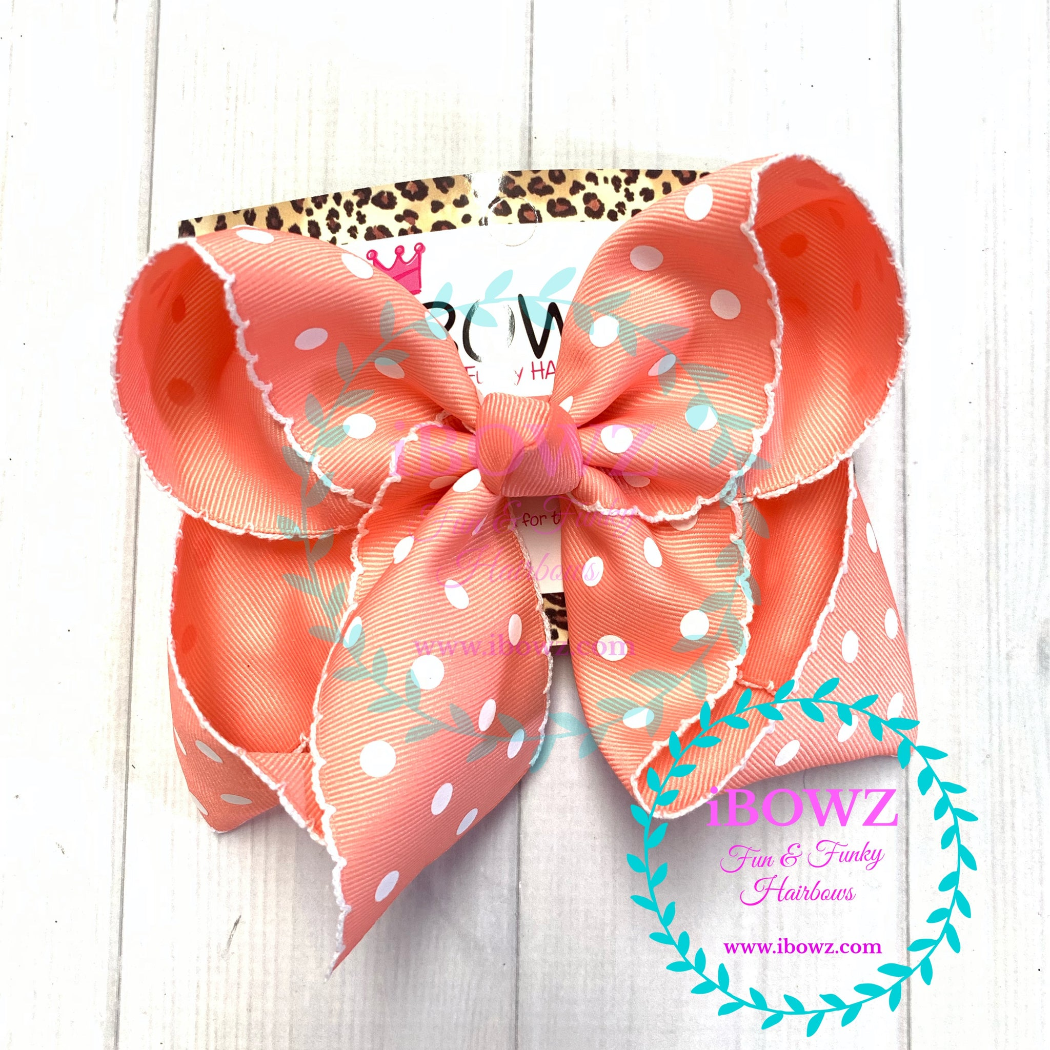 Sparkle Thursday ~ New Coral polka dot Moon-Stitch Fun bow  ~ iBOWZ Fun & Funky Hairbows