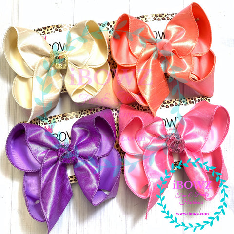 Bundle~  Iridescent Silk Duponi Bundle in Ivory, Coral, Pink, Dark Orchid  ~ New & Limited ~ Perfect Easter Bows in Pastel Colors