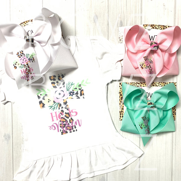 SHIRT ONLY ~ Mom & girl Matching Tee ~ Easter Ruffle Girls Tee ~ He is Risen ~ Leopard & Flowers Cross ~ iBOWZ