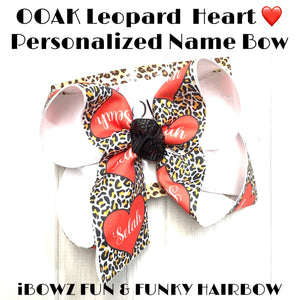 Leopard Heart Personalized Name Bow~ Bow Only ~  Perfect for Valentines Day ~iBOWZ