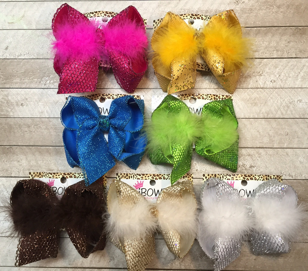 Fishnet Glitter Sparkle Hair bows