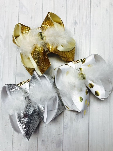 Gold Metallic polka dots ~ Gorgeous White bow with Gold Metallic polka dots