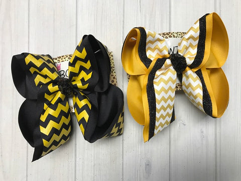 Yellow Gold and Black School & Sports Fun bows | Oak Grove School | Southern Miss Football | iBOWZ