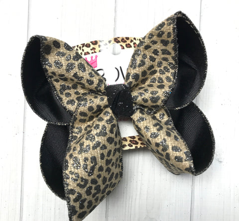 New & Very Limited Quantities | Leopard Fun bow in Tan & Black |Perfect Fall & Christmas bow