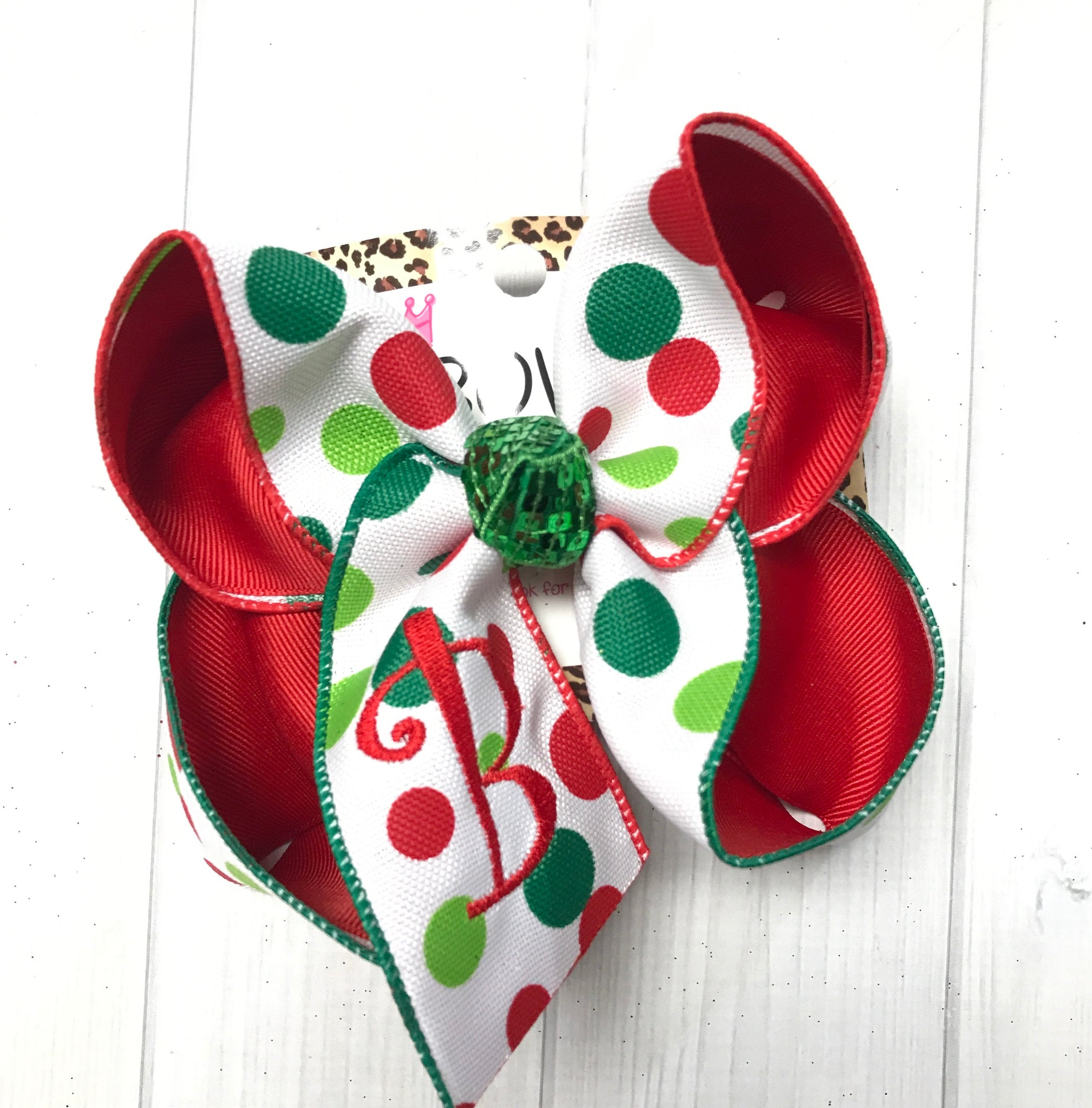 Polka Dot Christmas Monogrammed Initial  Hairbow | Polka dot Red/Lime & Emerald green ribbon with a Red Monogram Stitched initial