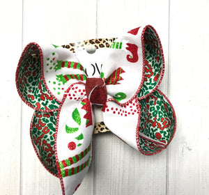 Elf + Christmas Leopard Fun Hairbow | New & Very Limited| Christmas Party bows
