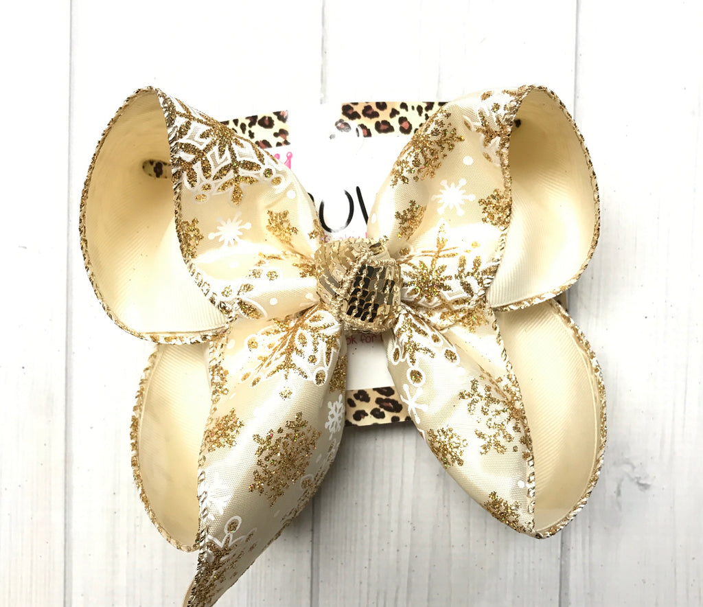 Glitter Champaign Snowflake Fun Hairbow | New & Very Limited| Christmas Party bows