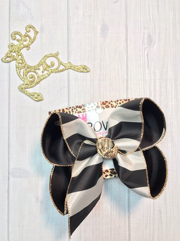 New Fun Holiday Hairbows |Black  & Cream Stripes with a touch of Gold fun bow  | Merry Christmas