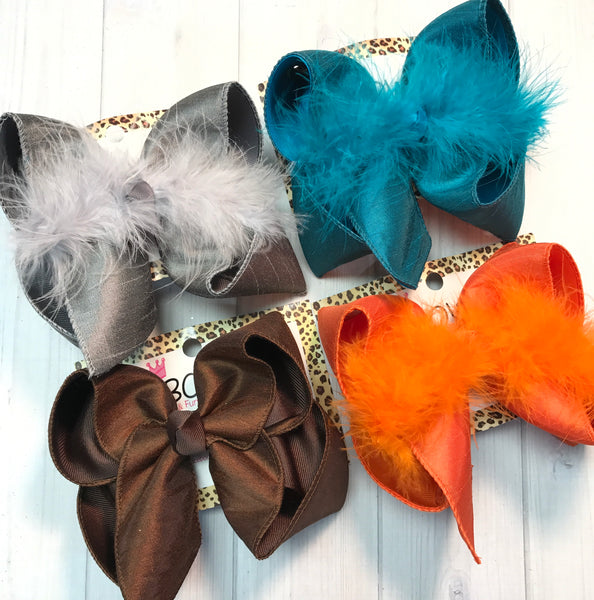 New Dressy Fall Bundle Hairbows by iBOWZ | Perfect for Fall | Silky Bows| Gray  | teal/sapphire  | Brown  |Orange