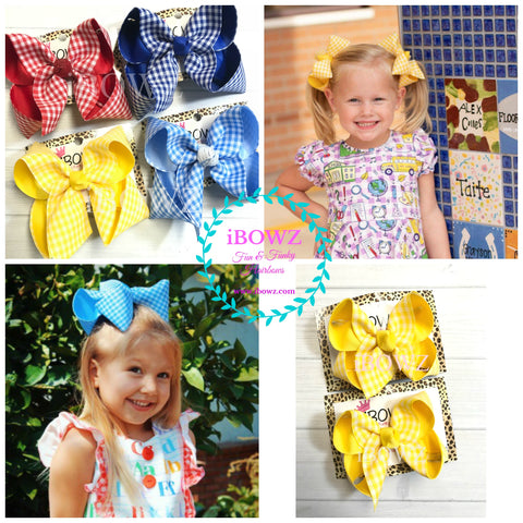 School House Gingham Fun iBOWZ~ Red, Yellow, Blue Gingham Printed Hairbow