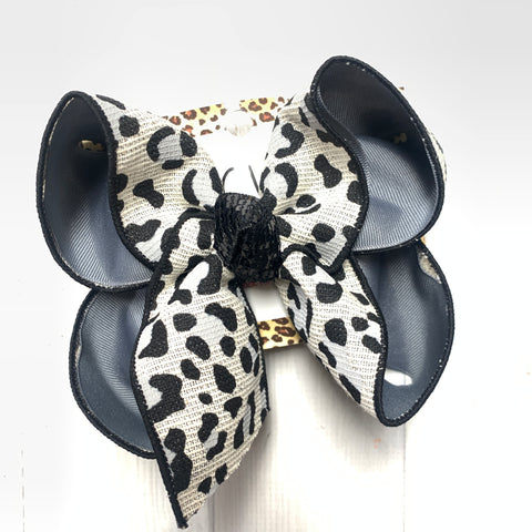 New Black Leopard Cream Fun bow ~ iBOWZ Fun & Funky Hairbows