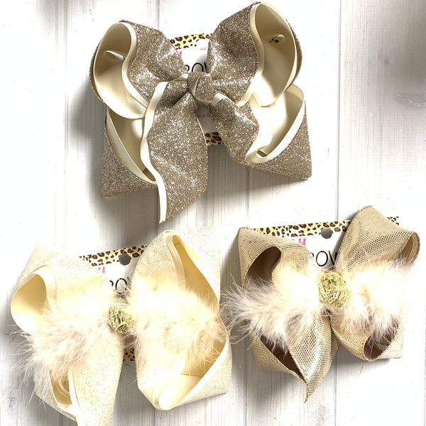 BUNDLE & Save $3 ~Neutral Glitters & Metallics Fun Hairbows by  iBOWZ~ Limited Time