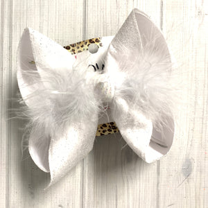 White Glitter Fun Bow ~ Hairbow by iBOWZ