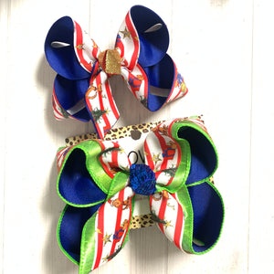 Grinch & Max the dog ~ christmas Fun hairbow ~ iBOWZ~ All bow sizes available~ limited time