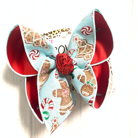 Gingerbread Candy Canes in a Pretty Light Blue Fun Bow ~ Hairbow by iBOWZ