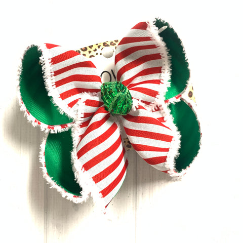 Christmas Fun Bow ~ Red & White Stripe Fun Hairbow by iBOWZ~