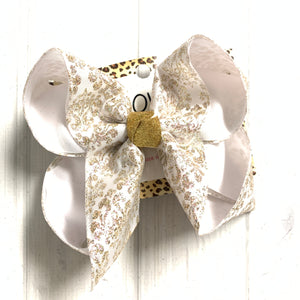 Christmas Damask Champagne glitter Fun Bow ~ Hairbow by iBOWZ