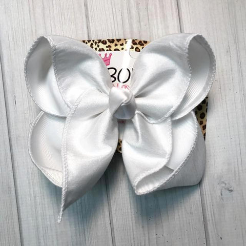 White Silk Dressy Fall iBOWZ | Hairbow | Baby bow | Big Mega Bow