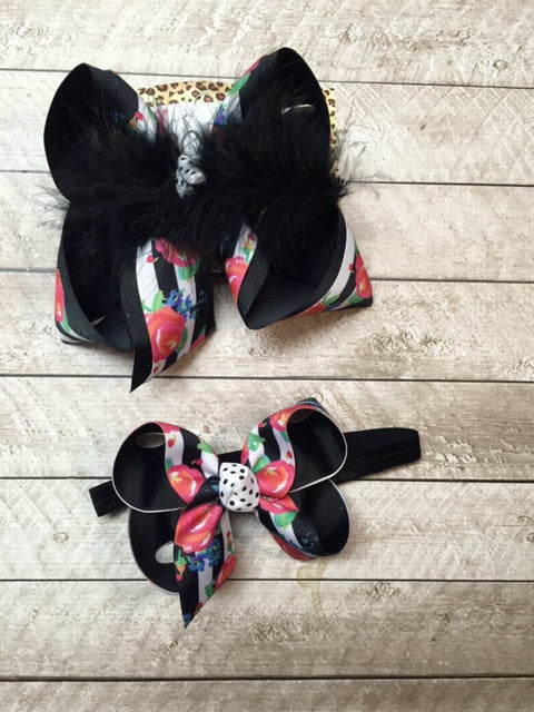 Floral Black Stripe Fun hair bow