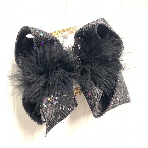 Black Fishnet w/ Glitter Fun Hairbows by  iBOWZ