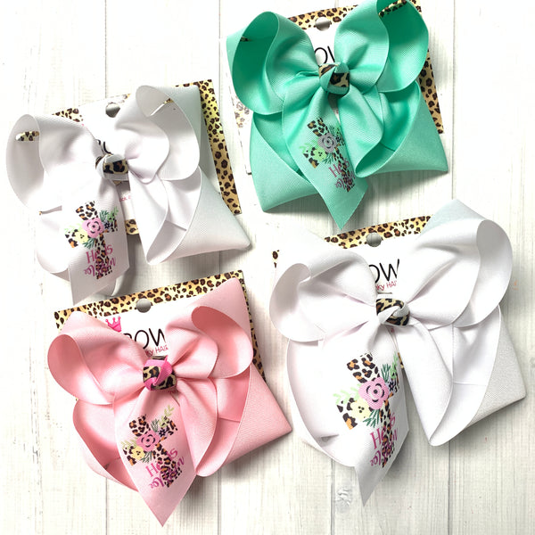 Easter Fun Bow ONLY ~ He is Risen ~ Leopard & Flowers Cross ~ iBOWZ