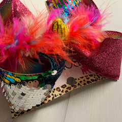 Black Rainbow Flip Sequin &  Shocking pink Glitter layered on Ombre Multi - SPARKLE & SHINE  | iBOWZ Fun & Funky Hairbows
