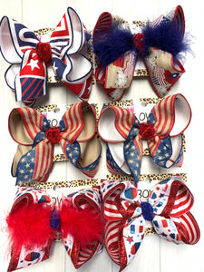 red white and blue bows, hairbows, girl bows, baby hairbows