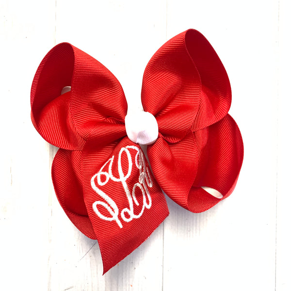 Christmas Monogram Triple Initial ~ Choose your bow  ~ by iBOWZ