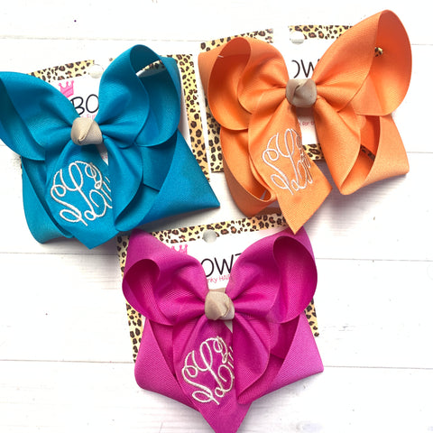 New Jewel-tone Fall Monogram Triple Initial Monogram ~ Choose your bow color ~ by iBOWZ