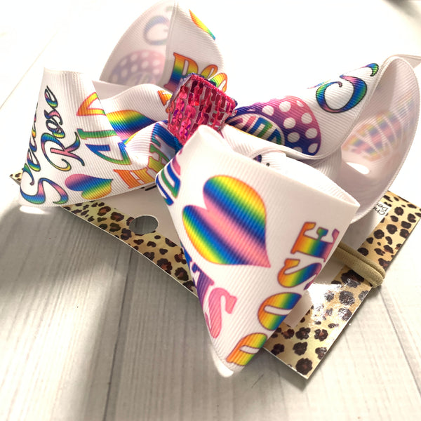 Personalized Name Rainbow Hairbow ~ Perfect to match all outfits ~iBOWZ