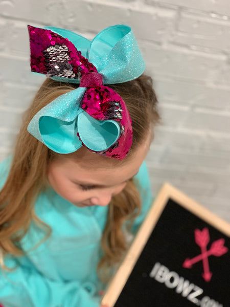 Bundle New & Limited | Valentines Day Leopard + Mardi Gras Unicorn + Turquoise & Shocking pink Flip Sequin  | iBOWZ Fun & Funky Hairbows
