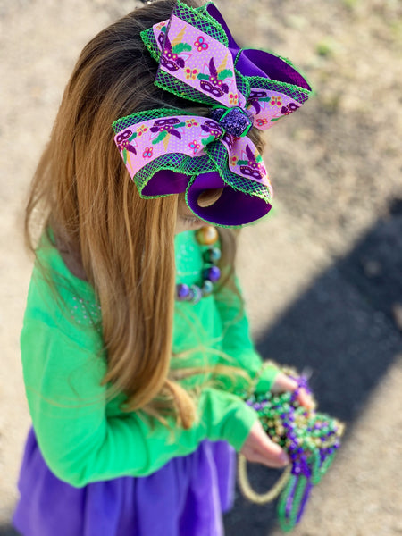 Mardi Gras Unicorn Mask |New Limited Mardi Gras Fun iBOWZ| iBOWZ Fun & Funky Hairbows