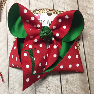 RTS RED POLKA DOTS ON EMERALD