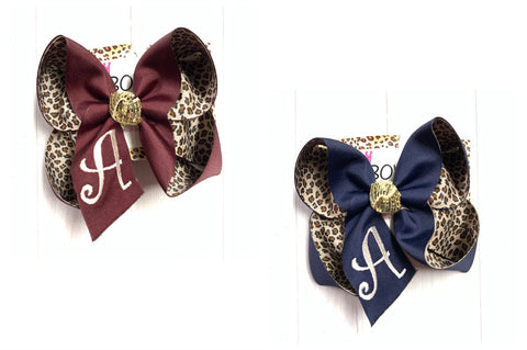 Monogram initial & layered on Leopard ~ Choose your ribbon color ~ Perfect for school & Fall